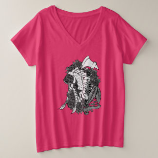 Camiseta Com Gola Em V Plus Size T-shirt do V-Pescoço de BBW - mantilha indiana