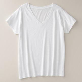 Camiseta Com Gola Em V Plus Size T-shirt do V-Pescoço do Mais-Size das mulheres