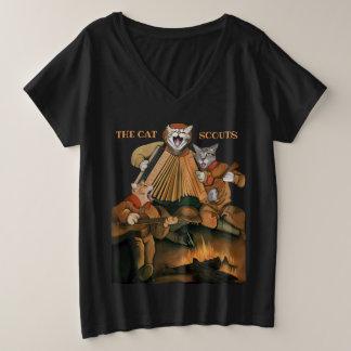 Camiseta Com Gola Em V Plus Size Tshirt da banda da fogueira de Ukelele do acordeão