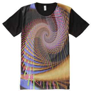 Camiseta Com Impressão Frontal Completa 2 Trippy Fractal fino abstrato psicadélico