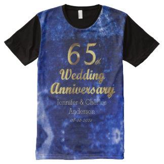 Camiseta Com Impressão Frontal Completa 65th Tipografia do ouro do aniversário de