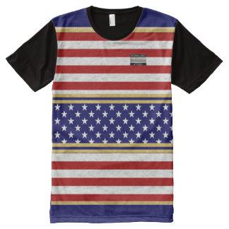 Camiseta Com Impressão Frontal Completa A bandeira de América colore o t-shirt dos miúdos