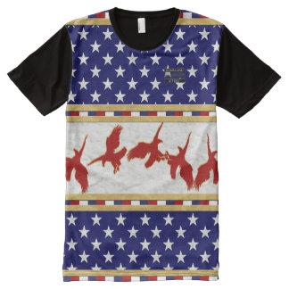 Camiseta Com Impressão Frontal Completa A bandeira de América colore o t-shirt vermelho