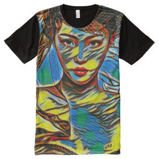 Camiseta Com Impressão Frontal Completa A maioria de arte abstracta bonita popular do