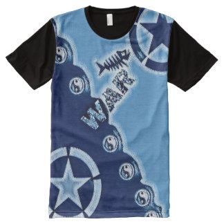 Camiseta Com Impressão Frontal Completa A maioria de arte afligida popular do símbolo de
