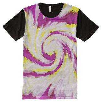 Camiseta Com Impressão Frontal Completa Abstrato amarelo cor-de-rosa Groovy do redemoinho