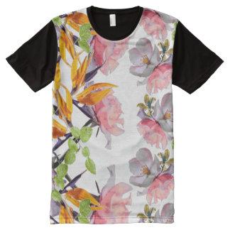 Camiseta Com Impressão Frontal Completa Aguarela luxúria floral por Zala02Creations