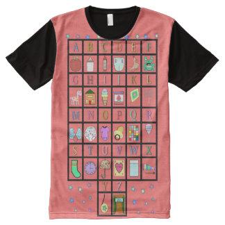 Camiseta Com Impressão Frontal Completa Alfabeto de ABDL por todo o lado no bebê adulto de