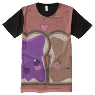 Camiseta Com Impressão Frontal Completa Amor da manteiga e da geléia de amendoim