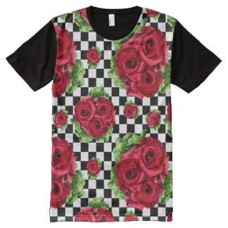 Camiseta Com Impressão Frontal Completa Amor floral do buquê Rockabilly das rosas