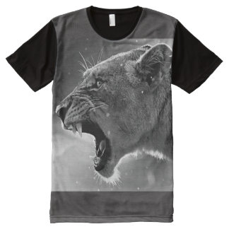 Camiseta Com Impressão Frontal Completa amor materno Leoa-Uivo-bravo, sincero