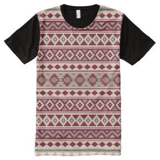 Camiseta Com Impressão Frontal Completa Areia de creme dos cinzas vermelhos astecas de IIb