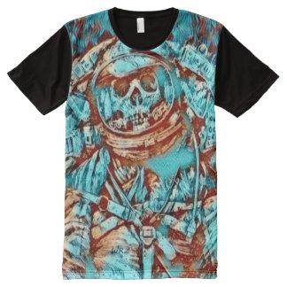 Camiseta Com Impressão Frontal Completa Arte azul da fantasia da morte do espaço