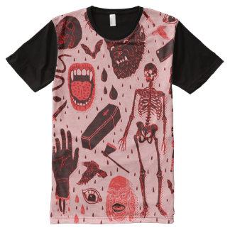Camiseta Com Impressão Frontal Completa Arte clássica assustador do horror do Dia das