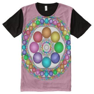 Camiseta Com Impressão Frontal Completa Arte colorida da mandala do espírito da páscoa