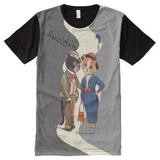 Camiseta Com Impressão Frontal Completa Arte do casal do gato de Wain do vintage