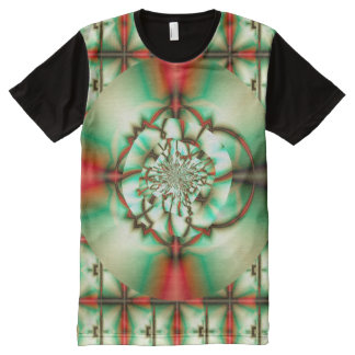 Camiseta Com Impressão Frontal Completa Arte do Fractal da multa do abstrato do elogio do