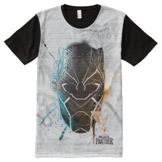 Camiseta Com Impressão Frontal Completa Arte dupla preta da rua das panteras da pantera |