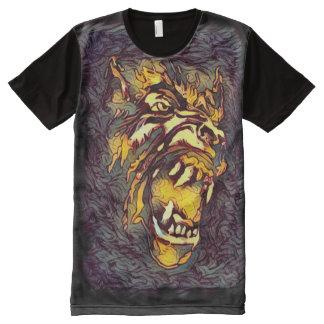 Camiseta Com Impressão Frontal Completa Arte escura do horror da cara clássica do