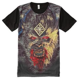 Camiseta Com Impressão Frontal Completa Arte escura do horror do monstro assustador do