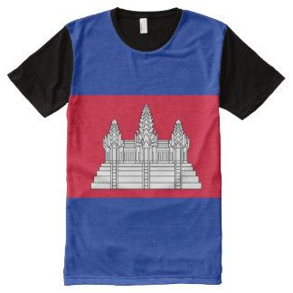 Camiseta Com Impressão Frontal Completa Bandeira de Cambodia