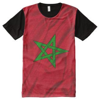 Camiseta Com Impressão Frontal Completa Bandeira de Marrocos