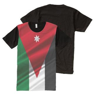 Camiseta Com Impressão Frontal Completa Bandeira de ondulação de Jordão