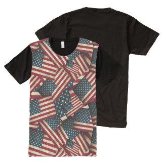 Camiseta Com Impressão Frontal Completa Bandeiras americanas afligidas