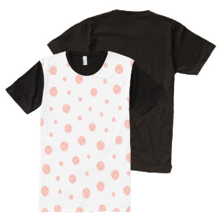 Camiseta Com Impressão Frontal Completa Bolinhas elegantes - branco cor-de-rosa macio do