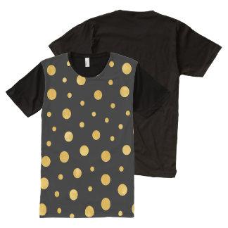 Camiseta Com Impressão Frontal Completa Bolinhas elegantes - ouro preto