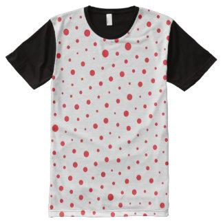 Camiseta Com Impressão Frontal Completa Bolinhas modernas elegantes - Vermelhas