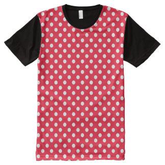 Camiseta Com Impressão Frontal Completa Bolinhas vermelhas e brancas