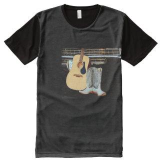 Camiseta Com Impressão Frontal Completa Botas da guitarra e de vaqueiro