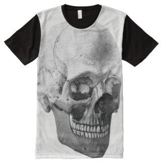 Camiseta Com Impressão Frontal Completa Cabeça de esqueleto