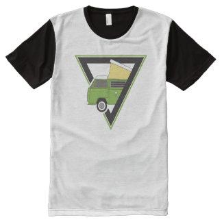 Camiseta Com Impressão Frontal Completa camionete de campista verde clássica do triângulo