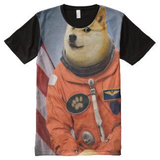 Camiseta Com Impressão Frontal Completa cão do astronauta - doge - shibe - memes do doge