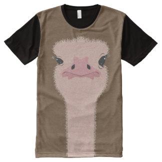 Camiseta Com Impressão Frontal Completa Cara engraçada da avestruz
