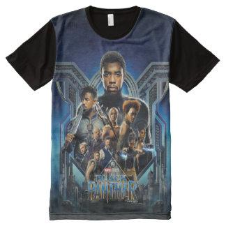 Camiseta Com Impressão Frontal Completa Caráteres da pantera preta | sobre Wakanda