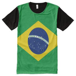 Camiseta Com Impressão Frontal Completa Cheio brasileiro da bandeira