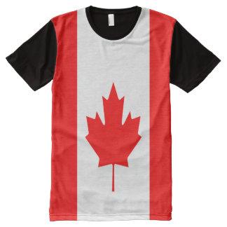 Camiseta Com Impressão Frontal Completa Cheio canadense da bandeira