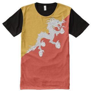 Camiseta Com Impressão Frontal Completa Cheio da bandeira de Bhutan