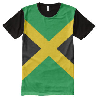 Camiseta Com Impressão Frontal Completa Cheio jamaicano da bandeira