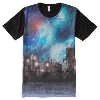 Camiseta Com Impressão Frontal Completa Cidade no espaço