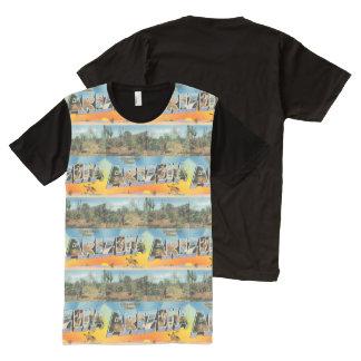 Camiseta Com Impressão Frontal Completa Colagem da arizona do vintage