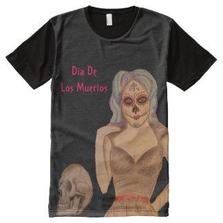 Camiseta Com Impressão Frontal Completa Crânio do açúcar - dia do morto