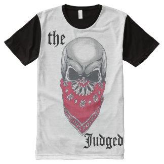 Camiseta Com Impressão Frontal Completa Crânio do Banadana dos homens por todo o lado no