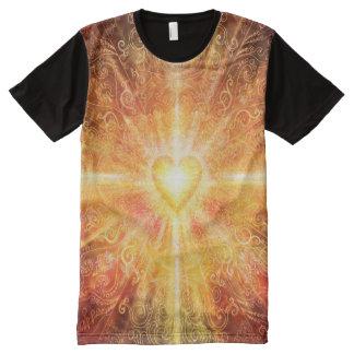 Camiseta Com Impressão Frontal Completa Da mandala H070 laranja profundamente