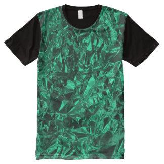 Camiseta Com Impressão Frontal Completa Design da folha de alumínio na cerceta