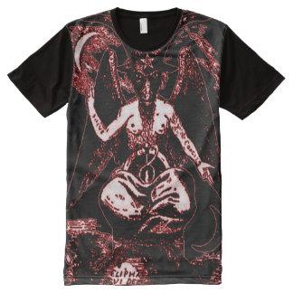 Camiseta Com Impressão Frontal Completa Deus antigo colorido do sangue de Baphomet