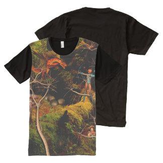 Camiseta Com Impressão Frontal Completa Dragão no t-shirt do painel dos homens da aflição